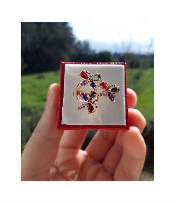 Xuping Jewelry Bague En Plaqué Or 18K-Pierres De Zircon- Multicolore