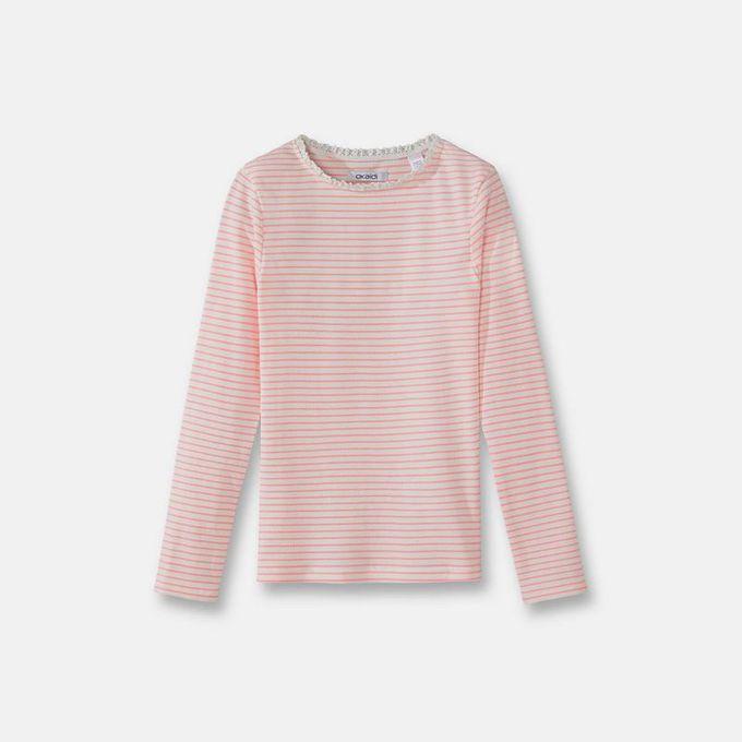 Okaidi T-shirt rayé côtelé fille 0080995-421 - Rose