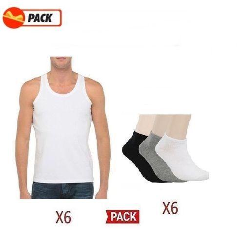 FORCE7 Pack - 6 Débardeurs/Blanc + 6 Chaussettes - Blanc/Noir/Gris