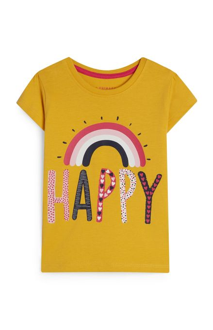 Primark T-Shirt Jaune Moutarde À Imprimé Arc-En-Ciel Et Message Happy Bébé Fille