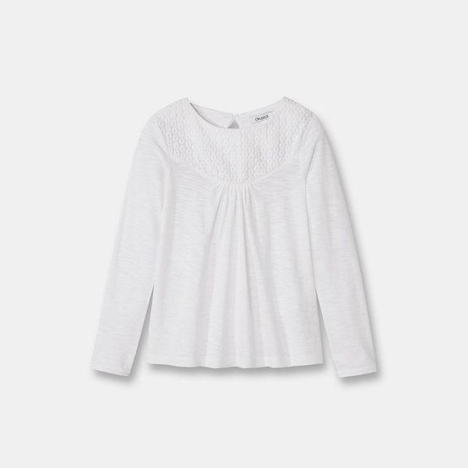 Okaidi T-Shirt Jersey Coton Et Dentelle Fille-0083665-804-Blanc