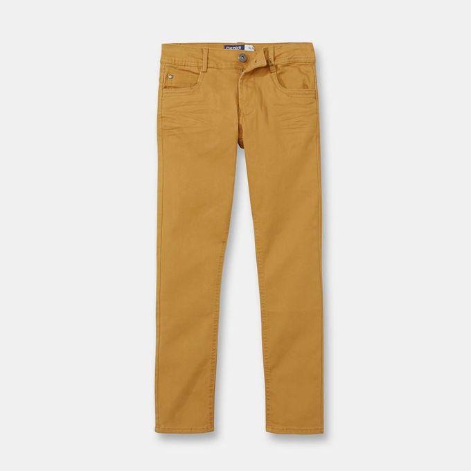 Okaidi Pantalon Slim En Toile Garçon  -  83445  -  Jaune Moutarde
