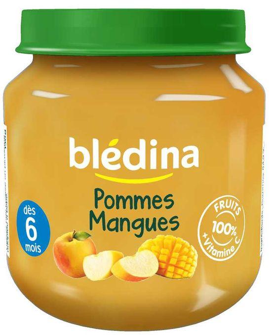 Blédina Les Petits Pots Fruités Pommes Mangues - Purée De Fruits Adaptée À Bébé 130 G