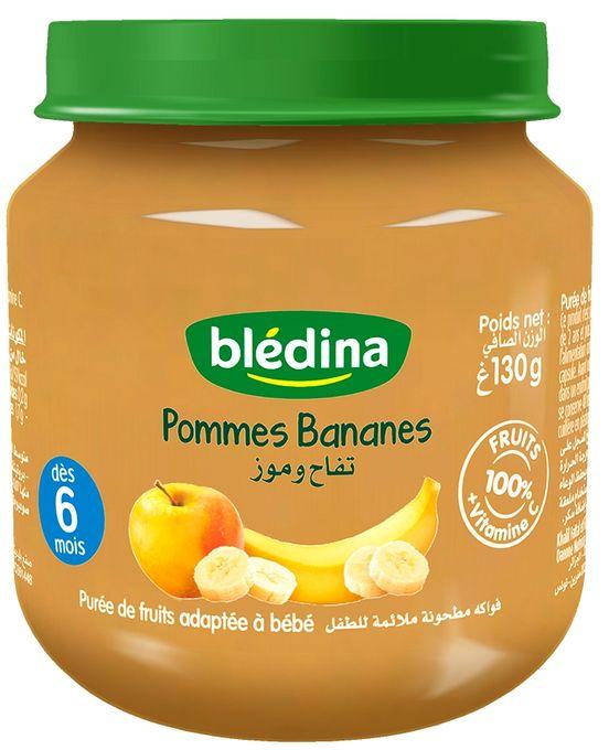 Blédina Les Petits Pots Fruités Pommes Bananes - Purée De Fruits Adaptée À Bébé 130 G