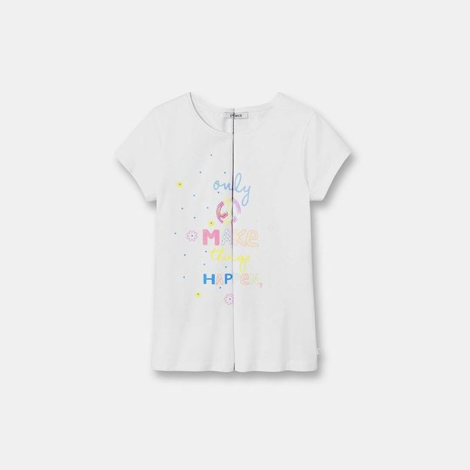 Okaidi T-shirt à motif magique fille-0085789-800-Blanc