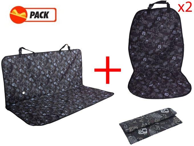Pack 3 Pièces - Voiture - Protège Banquette + 2 Sièges - Noir A Motifs,,