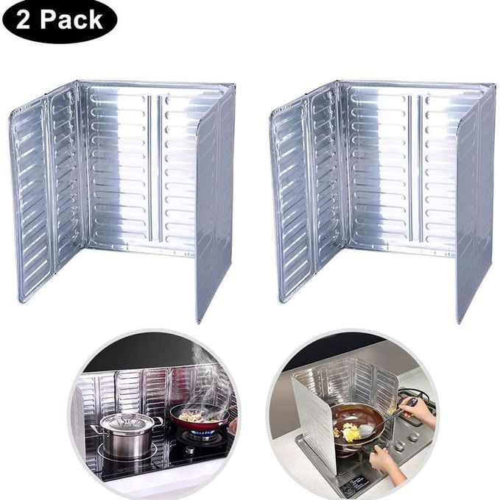 Aluminium Pack 2 Anti-Éclaboussures L'Huile Cuisinière Gaz Feuille D'Aluminium