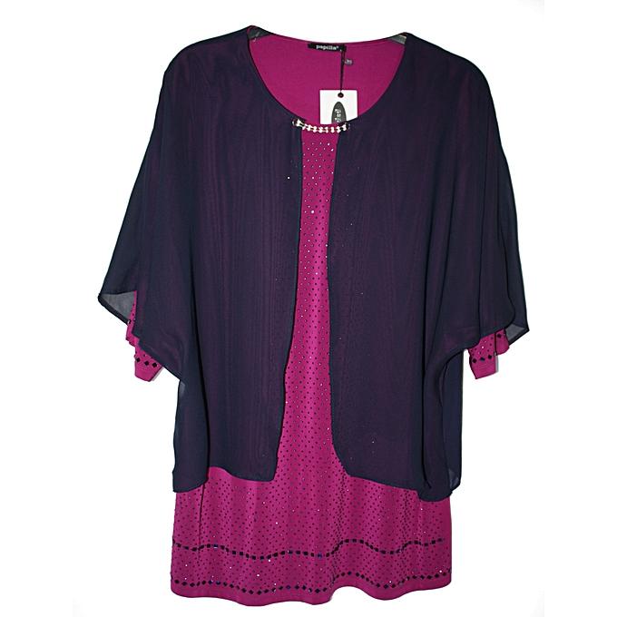 fb3be8ccee3 Papilla Haut Soirée Femme - Violet Bleu - Prix pas cher